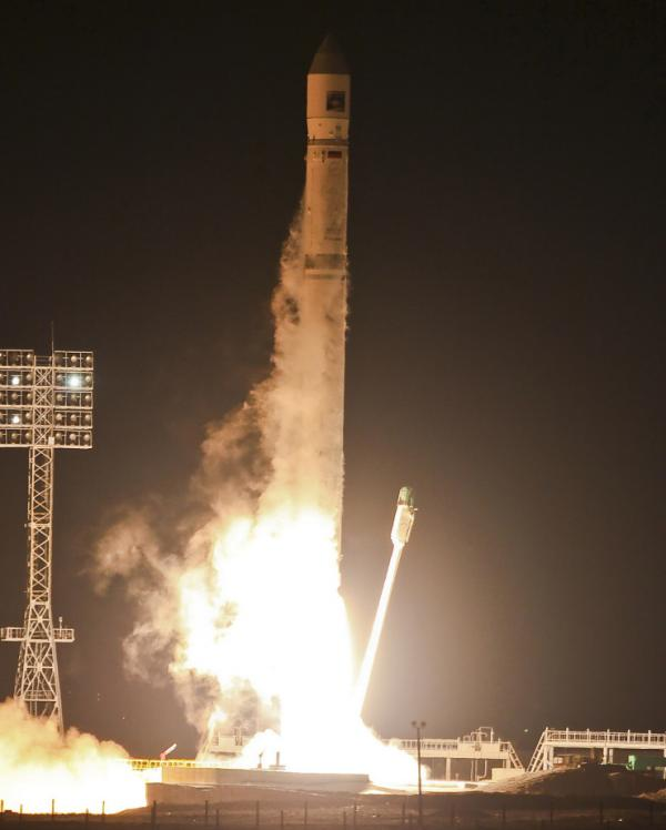 The Zenit-2SB rocket with Phobos-Grunt (Phobos-Soil) craft blasts off from its launch pad at the Cosmodrome in Baikonur, Kazakhstan.