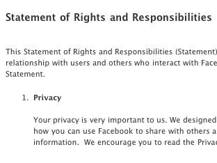 A screen shot of Facebook's terms of service.