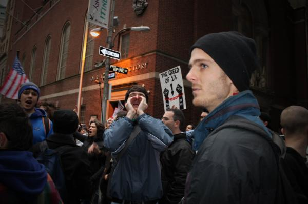 Occupy Wall Street protesters gather about a block from the New York Stock Exchange.