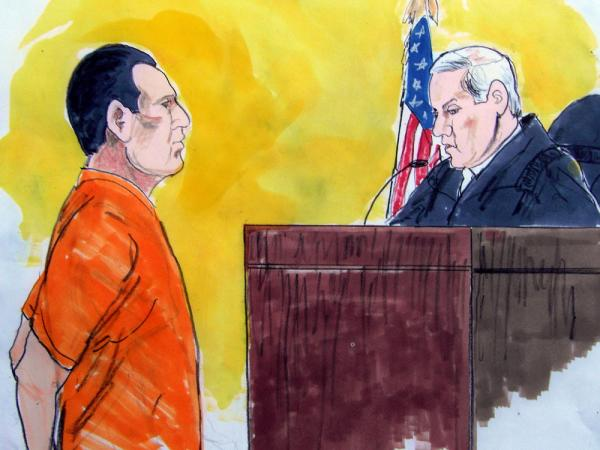 In this courtroom drawing, David Coleman Headley is shown facing a federal judge.