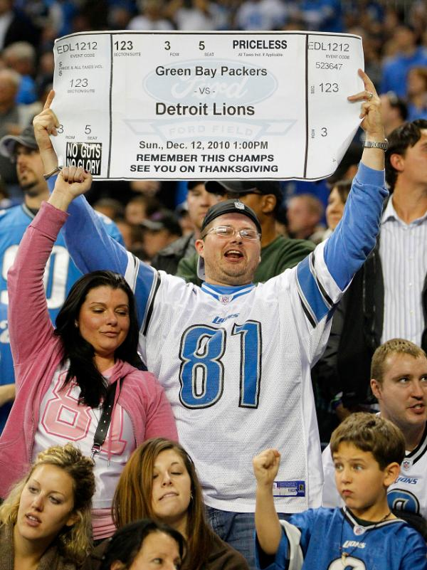 The Detroit Lions will face off against their favorite Thanksgiving nemesis, the Green Bay Packers, Thursday. Last week, a Detroit fan held up a sign looking ahead to the Thanksgiving game.