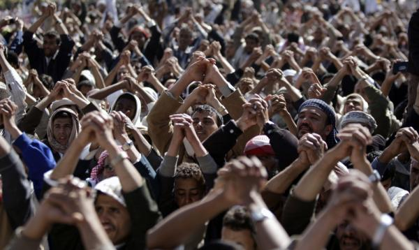 Protestors gesture during a demonstration demanding the prosecution of Yemen's President Ali Abdullah Saleh in Sanaa on Friday.