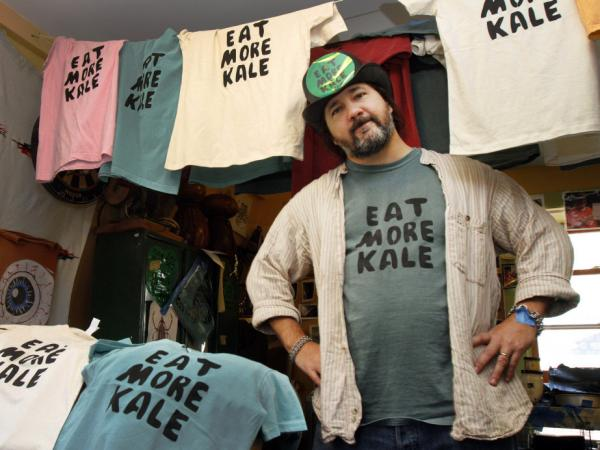 "Bo Muller-Moore, known by some as the ""Eat More Kale"" guy, hand screen prints his shirts from his Montpelier, Vt., studio."