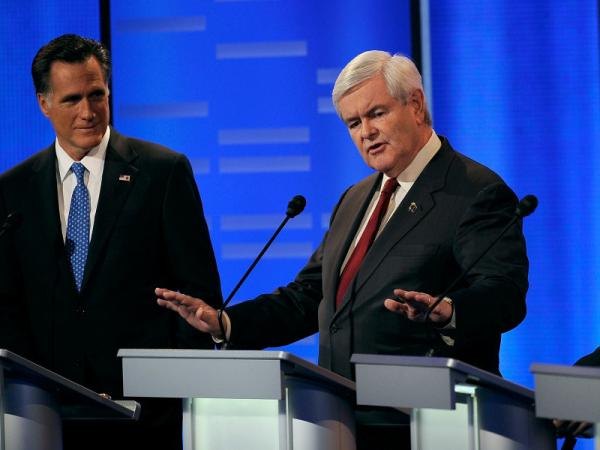 Newt Gingrich (right) stood his ground Saturday in the GOP presidential debate in Iowa. Mitt Romney (left) may have made a mistake in offering to wager Texas Gov. Rick Perry $10,000.