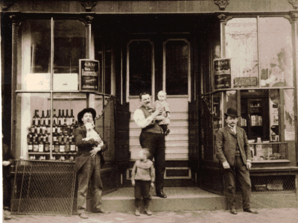 An early predecessor to the Hanukkah brews of today, Russian Jew Max Lapides stands with his sons in front of the Bauernschmidt Brewery Saloon in Baltimore, circa 1900.