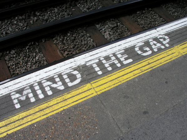"A ""mind the gap"" reminder at the Acton Town Underground Station in London"