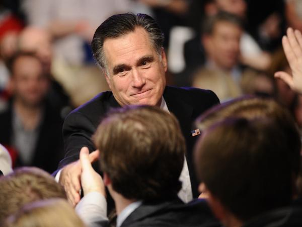 Mitt Romney greets supporters in Manchester, N.H., after seizing a second victory in his fight to be the party's presidential nominee.
