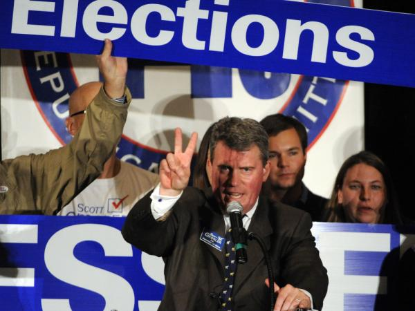 Scott Gessler gives a victory speech on Nov. 2, 2010, after being elected secretary of state in Colorado.