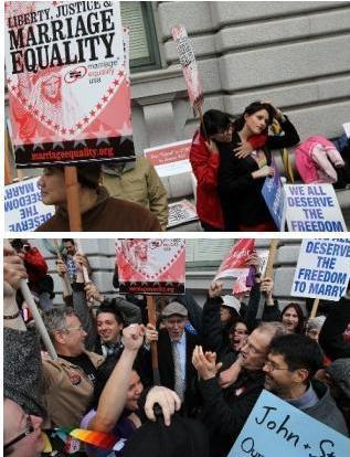 At the top: Proposition 8's supporters (who oppose same-sex marriage). Below: Proposition 8's opponents. Outside the court today in San Francisco.