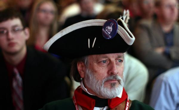 Tea Party activist William Temple waits for Republican Sen. Marco Rubio of Florida to deliver a speech titled, <em>Is America Still an Exceptional Nation?</em> during the annual Conservative Political Action Conference in Washington, D.C. on Thursday.