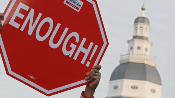 Outside the state Capitol in Annapolis, Md., last year: Someone who'd had enough of what has been going on.