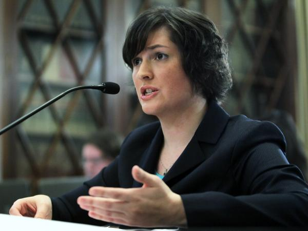 Sandra Fluke, a third-year law student at Georgetown University, testifies about contraceptives and insurance coverage during a hearing before the House Democratic Steering and Policy Committee.