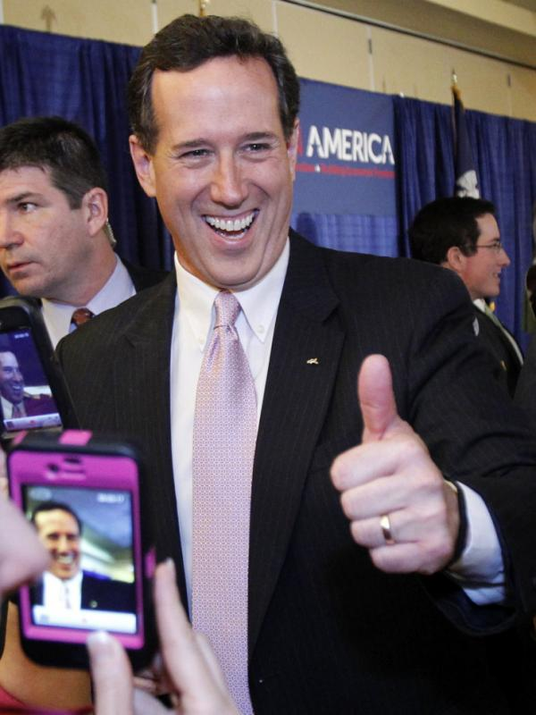 Rick Santorum won primaries in both Alabama and Mississippi on Tuesday night. He spoke to supporters in Lafayette, La.