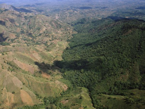 Haiti's brown landscape contrasts sharply with the rich forests of its neighbor Haiti-Dominican Republic Border, South Of Dajabon, Dominican Republic.