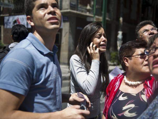 Many people went into the streets after the strong quake rocked Mexico City.