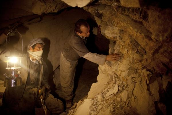 Afghan miners in a makeshift emerald mine in the Panjshir Valley in 2010. Reports suggest that Afghanistan is sitting on significant deposits of oil, gas, copper, iron, gold and coal, as well as a range of precious gems like emeralds and rubies. Currently these minerals are largely untapped and are still being mapped.