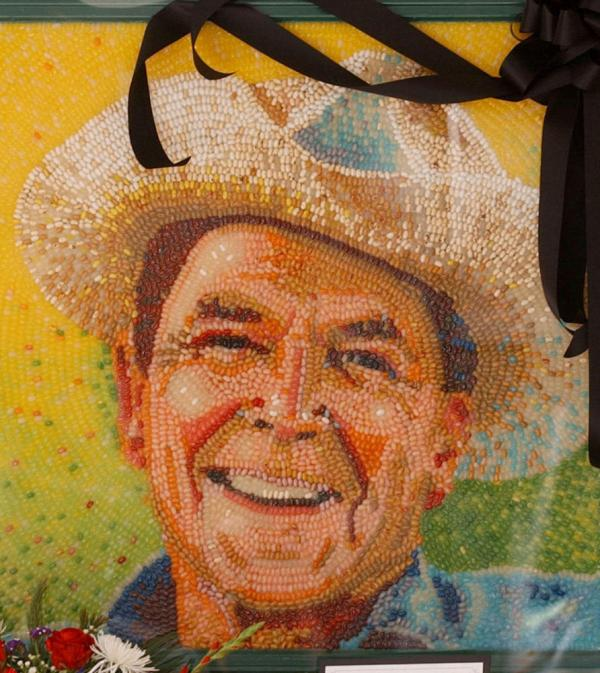 A portrait of President Ronald Reagan made from jelly beans at the Jelly Belly Co. visitor center, in Fairfield, Calif., in June 2004. The photo was taken shortly after his death.