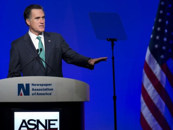 Republican presidential candidate Mitt Romney during today's speech to the American Society of News Editors, in Washington, D.C.