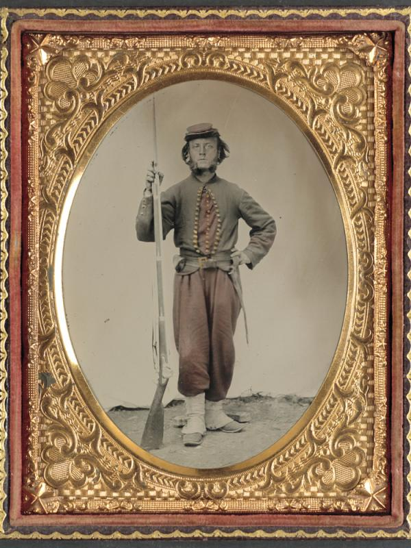 A Civil War soldier poses for a photograph, in this image contributed to the Library of Congress by Tom Liljenquist and his family.