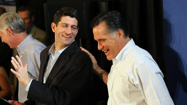 Mitt Romney jokes with Wisconsin Rep. Paul Ryan during a pancake brunch on April 1 in Milwaukee.