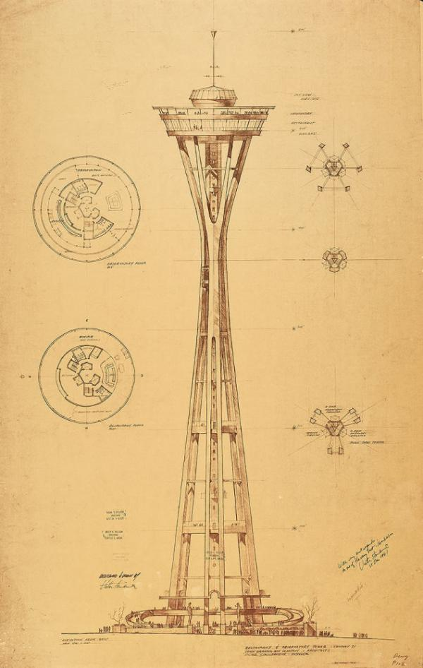 Preliminary design of the Seattle Space Needle for the 1962 Seattle World's Fair Exhibition. Victor Steinbrueck did the original drawing in August 1960.