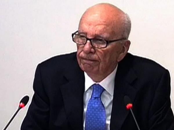 This video grab from pooled footage shows Rupert Murdoch testifying earlier today in London.