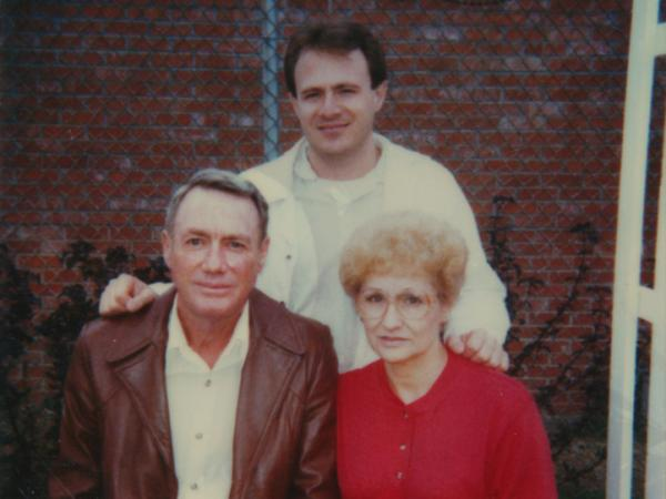 Michael Morton (center) and his parents early on in his prison sentence.