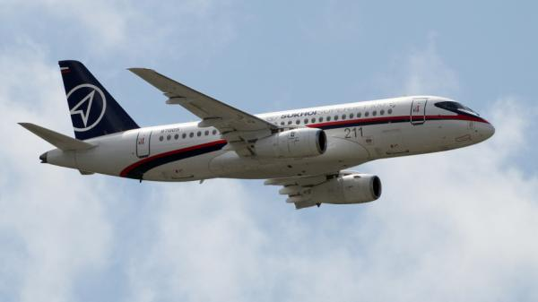A Sukhoi Superjet 100 during a flight above the Paris Air Show on June 22, 2011.