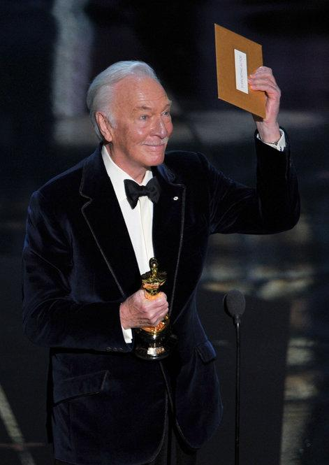 "Best Supporting Actor Christopher Plummer, 82, became the oldest Academy Award winner in an acting category in the awards' 84th year. He plays an elderly widower who comes out of the closet in ""Beginners."""