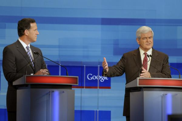 At the Fox News/Google GOP debate on Sept. 22, 2011, in Orlando, Fla., Gingrich makes a point as Rick Santorum looks on.