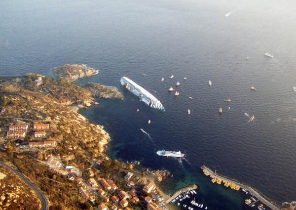 This photo, released by the Italian border police, shows the Costa Concordia last week, after it ran aground.