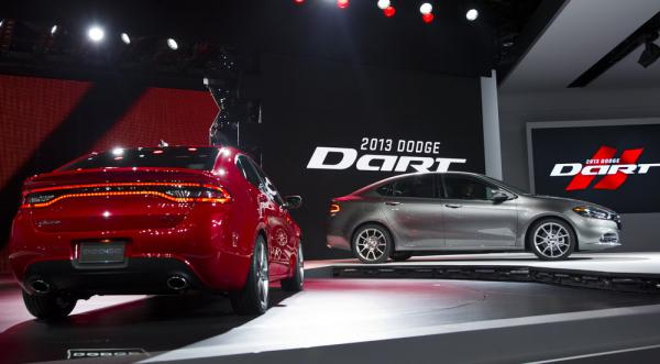Dodge unveiled its 2013 Dart at the North American International Auto Show in Detroit this week. The original Dart was in production from 1960-76. This time around, it's being built on a modified platform of one of Fiat's Alfa Romeos. After a 2009 merger between the struggling Chrysler and Italy's fast-growing Fiat, the two are sharing technology and strategy.