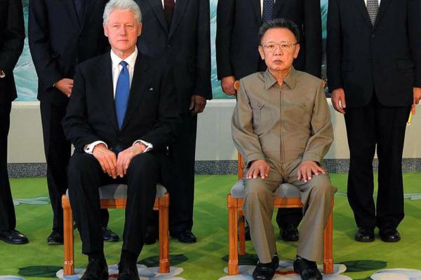 Aug. 4, 2009: Kim Jong Il (right) poses with former U.S. President Bill Clinton in Pyongyang.