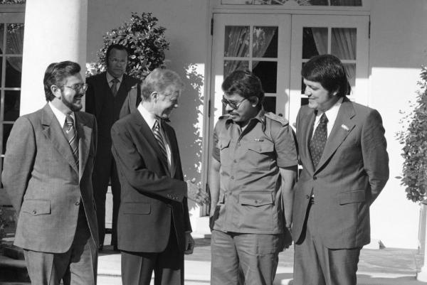 President Jimmy Carter welcomes three of Nicaragua's five-member ruling junta to the White House on Sept. 24, 1979. From left: Alfonso Robelo, Carter, Ortega and Gorgio Ramirez.