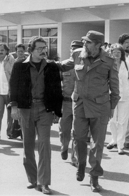 Cuban President Fidel Castro (right) and Ortega walk together during Ortega's departure from Jose Marti International airport in Havana on Aug. 13, 1987.