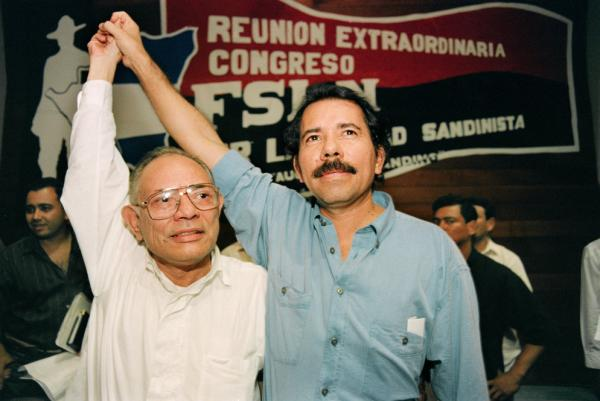 Ortega (right) with Tomas Borge on May 23, 1994, shortly after Ortega was re-elected secretary-general of the Sandinista National Liberation Party. Borge was elected vice secretary on May 23, 1994, in Managua.