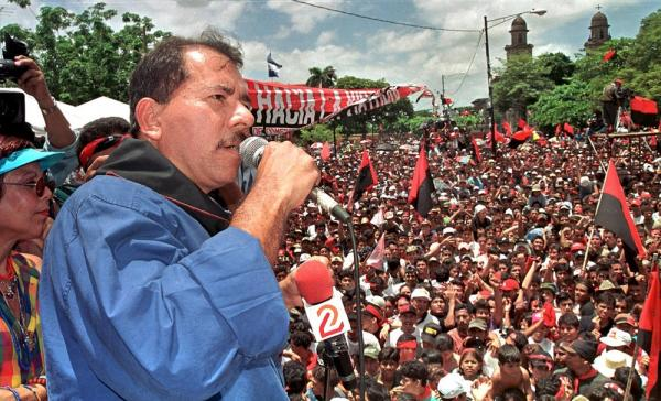 Sandinista Party leader Ortega speaks to supporters on July 19, 2000 as they celebrate the 21st anniversary of the Sandinista revolution, which toppled the dictatorship of Anastasio Somoza in Managua on July 19, 2000.