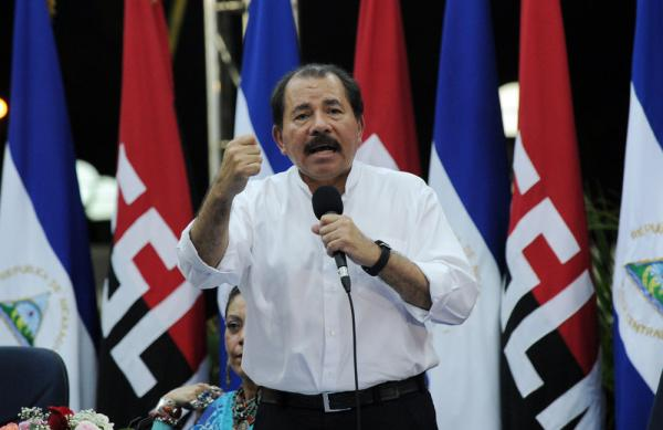 Daniel Ortega, who has served two previous terms as president, is shown during his re-election campaign in Managua on Oct. 31.