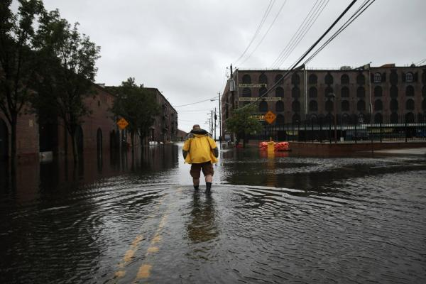 Water sits on the streets of Brooklyn's Red Hook neighborhood  on Sunday.
