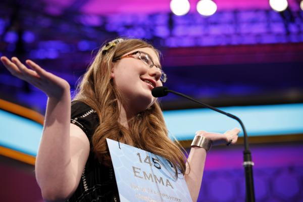 Emma Ciereszynski, 14, of Dover, N.H., shrugs after misspelling a word in the finals of the contest.