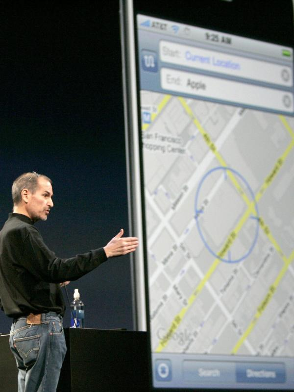 Apple's late CEO, Steve Jobs, discusses the Google Maps application for the iPhone during the Macworld Convention and Expo in San Francisco in 2008.