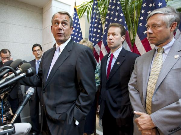 "Speaker John Boehner and other House Republican leaders at a May 31, 2012 news conference at which they described a proposal by Rep. Nancy Pelosi to raise taxes as a ""job killer."""