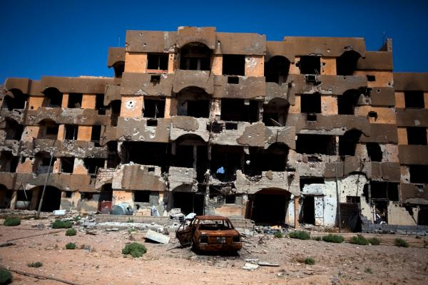 A destroyed apartment building in Tawargha, south of the Libyan coastal city of Misrata. Rebels from Misrata destroyed Tawargha, accusing residents of supporting Moammar Gadhafi and committing atrocities.