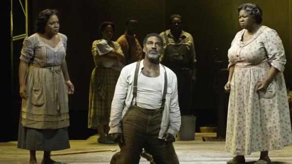 Mariah, at right, is the steel-spined matriarch of <em>Porgy and Bess</em>'s Catfish Row. Actress NaTasha Yvette Williams, with Norm Lewis's Porgy and Bryonha Marie Parham's Serena, creats one of the show's pivotal moments without having to speak a word.