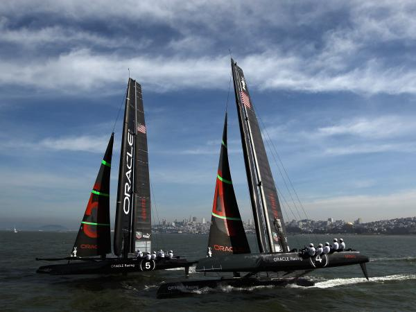 The Oracle Racing AC45 catamarans practice in the San Francisco Bay in February. The AC45 is a smaller version of the AC72, which teams will race in next year's America's Cup Finals in 2013.