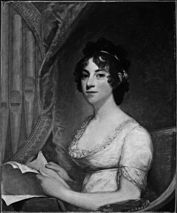 Anna Maria Thornton, a Washington socialite and the owner of John Arthur Bowen, as depicted by Gilbert Stuart in 1804.