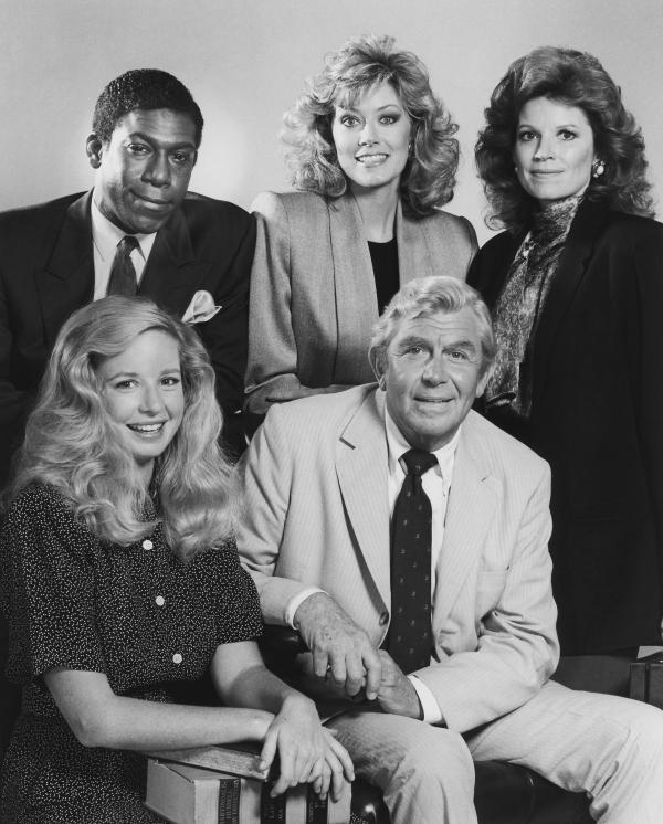 In the drama <em><em>Matlock</em></em>, Kene Holliday (top left), Nancy Stafford, Julie Sommars, Griffith and Kari Lizer played a criminal defense team that often came out on top.