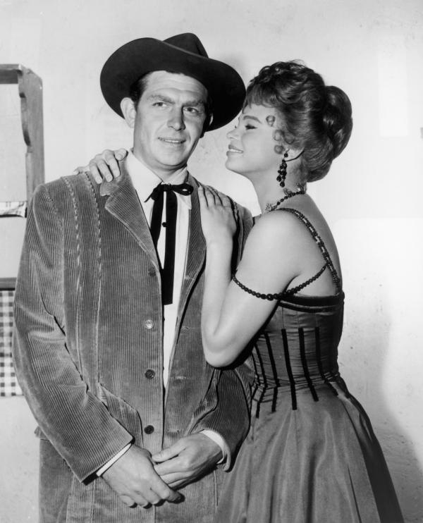 Griffith and Juliet Prowse pose on the set of <em>The Second Time Around</em>, a 1961 Western comedy starring Debbie Reynolds as a widow who moves from New York to Arizona.