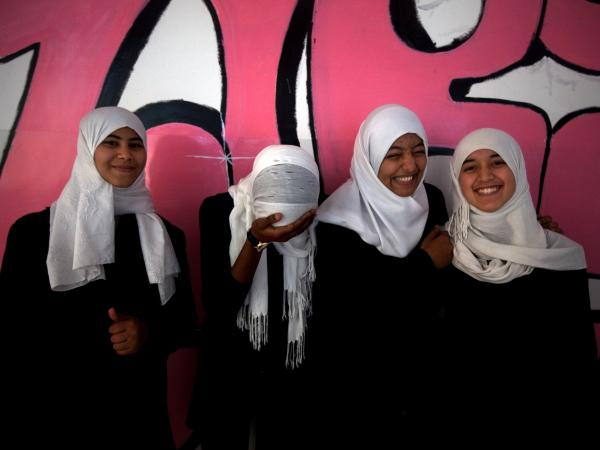 Schoolgirls at the newly renamed Independent School in Misrata. The city was badly damaged in the fighting last year, and many lost friends or family members.