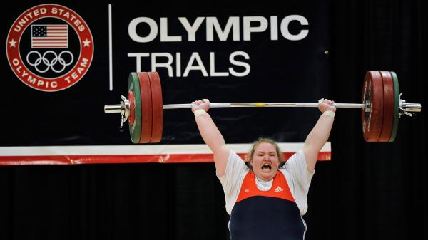 "Holley Mangold successfully completes the 145 kilogram ""clean and jerk"" lift at the trials for the U.S. Olympic women's weightlifting team in March. Mangold came to weightlifting after trying her hand at several other sports."